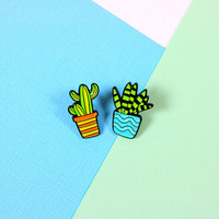 Blue & Orange Cactus Duo Pin Set // clutch back // lapel pins, succulent, cactus // EP125