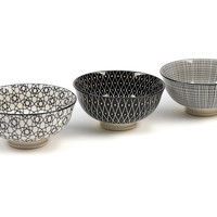 Osaka Bowls, Black, Set of 6, Serving Bowls