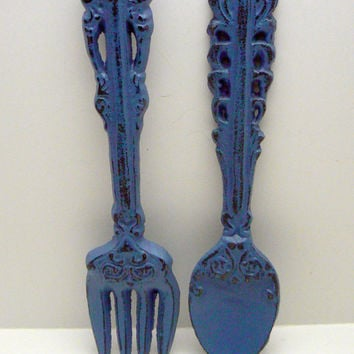 Fork Spoon Set Wall Decor Shabby Chic Periwinkle Medium Blue Rustic Weathered Distressed Kitchen Home Decor Oversized Country Chic Wall Art
