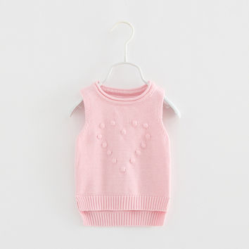 kids girls autumn spring vest baby wool heart pattern solid  sweater toddler girl casual warm cardigan children clothing 1-5T