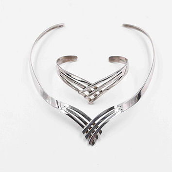 Vintage Taxco Sterling Silver Collar & Cuff Set, Necklace, Bracelet,  Torc, Torque, V Shaped, Crisscross, Mexico, Modernist #c426