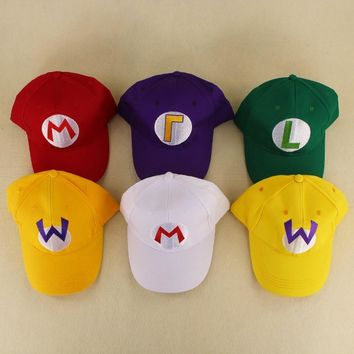 Super Mario party nes switch 5 Colors  Caps hat Red  and luigi Anime Cosplay Halloween Costume Buckle Hats Adult Hats Cap AT_80_8