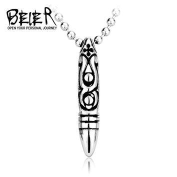 BEIER Punk Good detail New Bullet Pendants Necklace stainless steel chain For Man And Boy gif Jewelry free shipping BP8-091