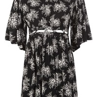 Printed Lattice Detail Smock Dress - Clothing