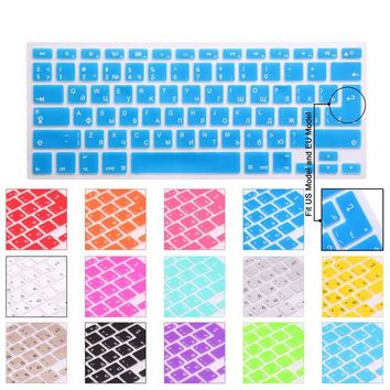 14 Color US/EU Common Russian Language Letter Silicone Keyboard Cover Sticker For Macbook Air Pro 13 15 17 Retina Protector Film