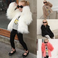 Child Kid Baby Girl Faux Fur Coat Long Sleeve Jacket Thick Warm Outwear Snowsuit