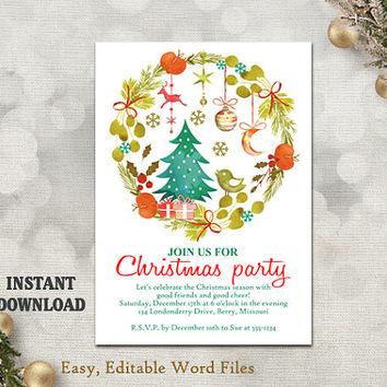 Printable Christmas Party Invitation Template - Wreath - Holiday Party Card - Christmas Card - Editable Template - Watercolor DIY White Red