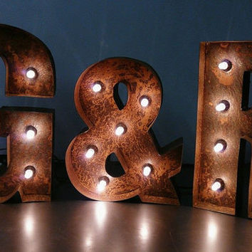 Rustic Wedding Day Initials - Letter Lights - Hand Made In Britain Name Ampersand Table Display Next to your cake