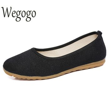 Women Flats Shoes Simple Solid Color Slip On Cotton Fabric Linen Soft Ballerina Dance Flat Sapato Feminino Casual Shoes