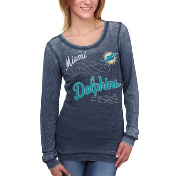 Miami Dolphins Touch by Alyssa Milano Women's Blitz Burnout Thermal Long Sleeve Tri-Blend T-Shirt - Aqua