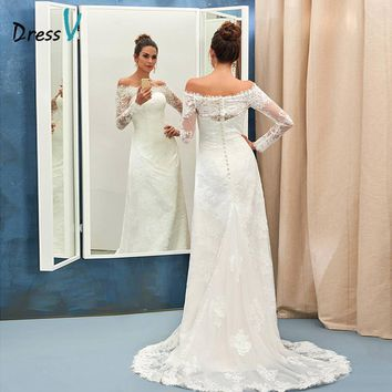 Dressv ivory mermaid wedding dress off the shoulder sweep train long sleeves bridal gown elegant church long lace wedding dress