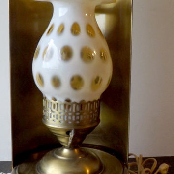 Fenton Honeysuckle Coin Dot Sconce Lamp, Electric Brass Wall Light, Honeysuckle Coindot Glass Shade, Ruffled Rim