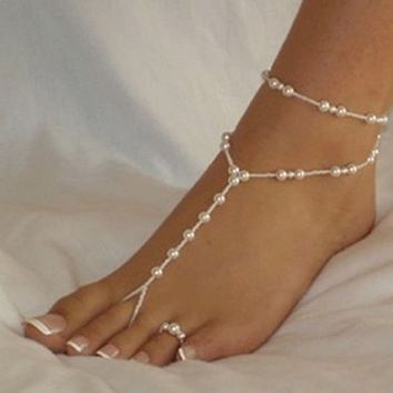 Bessky(TM) Black Friday Womens Beach Imitation Pearl Barefoot Sandal Foot Jewelry Anklet Chain