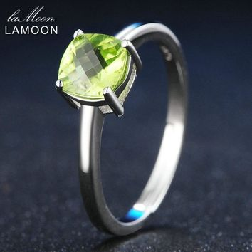 LAMOON 6mm Natural Square Cut Peridot 925 Sterling Silver Simple Engagement Ring Women Jewelry S925 White Gold Plated LMRI037