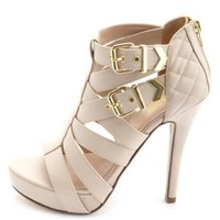 Quilted Strappy Buckled Platform Heels by Charlotte Russe - Nude