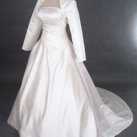 A-line Strapless Long-Sleeve Chapel Train Satin Wedding Dress With Wrap Beading Free Shipping