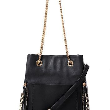 Black Handbag with Chunky Chain Strap