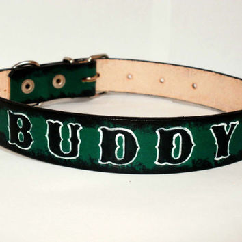 "Personalized dog collar, 1"" wide, leather dog collar, red, blue, green, black letters with white highlights"