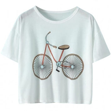 Bicycle Print Cropped Graphic Tee