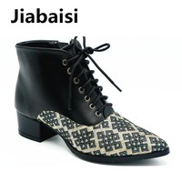Jiabaisi shoes women`s Multicolour Embroidery boots Lace-up Shank chunky heel bootie Z