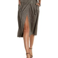Gray Faux Suede Midi Wrap Skirt by Charlotte Russe