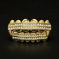 Gold Plated Fang Grills Two Row Iced Out CZ Teeth