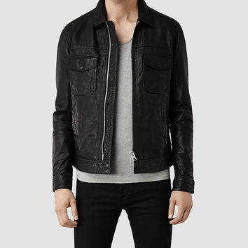 Mens Morson Leather Biker Jacket (Black) | ALLSAINTS.com