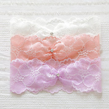 Blush garter, bridal lace garter, wedding garter, stretchy lace garter set - style #521