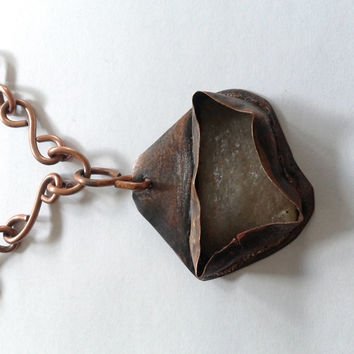 rustic handmade pendant of irregular white rough  stone  copper wrapped with handmade copper chain