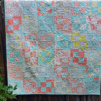 Modern Pastel Roses Lap, Throw or Picnic Quilt