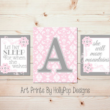 Pink Gray Nursery Wall Art Nursery Wall Decor Baby Girl Nursery Art Prints  Let Her Sleep