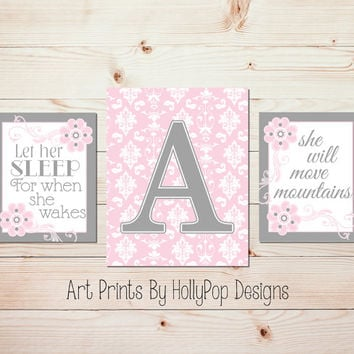 Pink Gray Nursery Wall Art Nursery Wall Decor Baby Girl Nursery Art Prints Let Her Sleep Quote Monogram Print Pink Artwork Damask Decor 1100