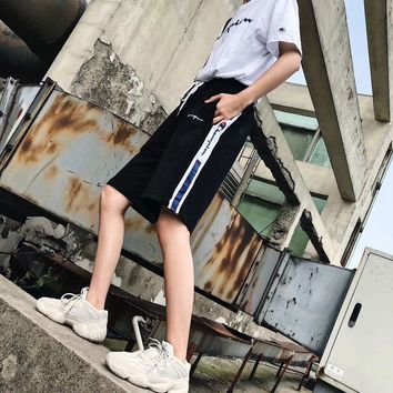 """Champion"" Unisex Casual Vintage Multicolor Stitching Letter  Print Leisure Pants Shorts Couple Fifth Pants Sweatpants"