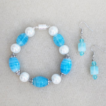 Vibrant  Blue -Handmade Jewelry Set- 2 Piece Ladies Bracelet & Earrings -Trending Jewelry-Handcrafted- Beadwork-Ladies Jewelry-Gifts for Her