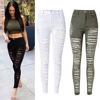 Skinny Pencil Pants Woman High Waist Ripped Jeans
