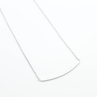 Curved bar sterling silver necklace