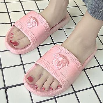 Versace Trending Woman Men Stylish Medusa Slipper Sandals Shoes Pink