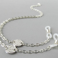 Silver Sunglasses Chain with Hammered Circles