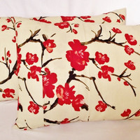 Pillow Cover done in Flowering Chinese Quince by whiteoakroom