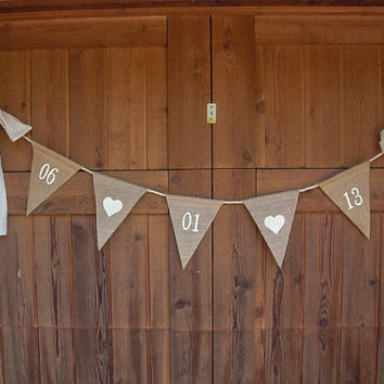 Save-The-Date Burlap Banner