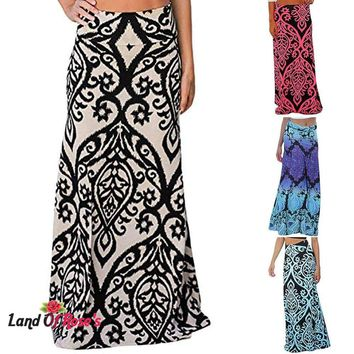 Empire Floor-Length Vintage Coral Print High Waist Skater Long Maxi Skirt