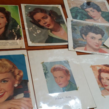Set of 15 1950s Female Starlets Movie Star Celebrity Photos Clipped Magazine Pages Great for Framing Decor Altered Art Collage Mulitmedia