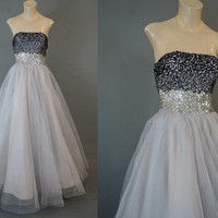 1950s Strapless Tulle Gown with Ombre Sequin Bodice, 32 bust, Lavender Grey Tulle, Vintage Prom, Dance Dress