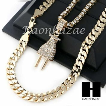 "MEN ICED OUT ELECTRONIC PLUG TENNIS CHAIN DIAMOND CUT 30"" CUBAN LINK CHAIN S50"