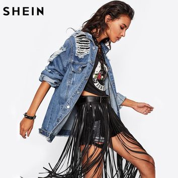 Trendy SHEIN Destroyed Boyfriend Denim Jacket Blue lapel Fall Jackets Women Single Breasted Casual Womens Jackets and Coats AT_94_13