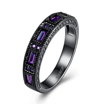 MYSTIC BLACK WEDDING BANDS ETERNITY FINGER RINGS FOR WOMEN ROUND CIRCLE CREATED AMETHYST ZIRCONIA CZ FINE RING JEWELRY