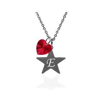 Pink Box Dainty Star Initial Necklace Made With Crystals From Swarovski  - E