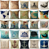 Vintage Style Map & Mermaid Cotton Linen Square Pillow Cases Sofa Car Throw pillow Cushion Cover [8081668487]