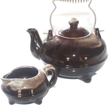 Vintage Pottery Tea Kettle and Creamer Set, Pottery Teapot