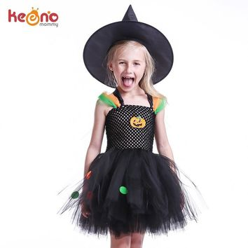 Pumpkin Pattern Girls Halloween Tutu Dress with Witch Hat Colorful Polka Dot Baby Girl Dress Kids Witch Costume Photo Party